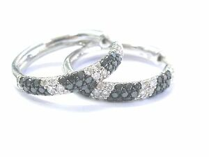 Fine NATURAL Black & White Diamond white Gold Hoop Earrings 2.70Ct