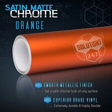 "Orange Satin Matte Chrome Metallic Vinyl Film Wrap Sticker Air Free 24"" x 60"" In"