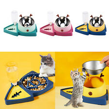 Double Dog Cat Bowls Water Dispenser Feeder Bowl No-Spill Food Water Bowls