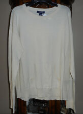Chaps Ivory Light Weight Cotton Long Sleeve Pull-over Solid Crew  Pockets L NEW