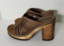 Candie's Brown Leather & Wood Platform Heels 8.5