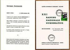 DEPLIANT 1971 RICCIONE XXI RADUNO NAZIONALE NUMISMATICO D'EPOCA