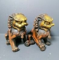 Collect Chinese Feng shui Decor Copper Gilt Foo Fu Dog guardian Lion Statue Pair