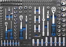Module de servante d'atelier - clés à cliquet + douilles 192 pièces 1/4-3/8-1/2