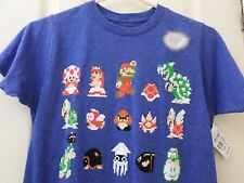 Official Nintendo Mario Licensed Product T-Shirt Pixel Cast Size S NWT
