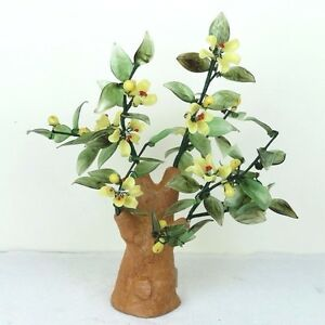 """Glass Artificial Flowers Bonsai Plant - Red Yellow Porcelain Tree 10""""H New"""