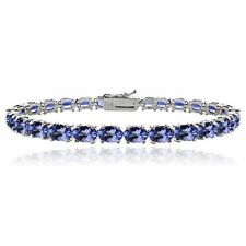 White Gold on Solid 925 Sterling Silver AAA 16ct TGW Tanzanite Tennis Bracelet