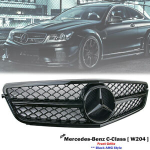 Front Black AMG Grille For Mercedes Benz W204 C-Class C280 C300 C350 2007-2014