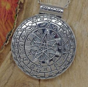 magischer Zirkel Amulett 925Silber Peter Stone ZODIAC Schutzamulett Pentagramm