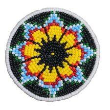 GREEN YELLOW SEED BEADED NATIVE AMERICAN INSPIRED ROSETTE 2.5 inch Q53/1