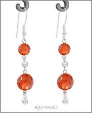 Sterling Silver Dangle Drop Earring CZ Orange Red 53060
