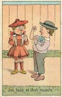 EARLY 1900's VINTAGE COMIC AUSTRALIAN POSTCARD - JIST LOOK AT THAT MUSCLE