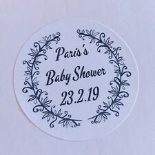 Personalised round baby shower stickers thank you for coming Favour, Party