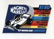 Adesivo FORMULA 1 1980 GP NEDERLAND Zandvoort MAGNETI MARELLI Sponsor sticker F1