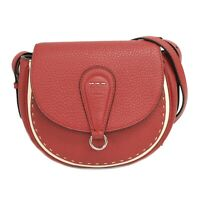 FENDI Selleria 8BT304 Leather Shoulder Crossbody Bag Pochette Red Silver Italy
