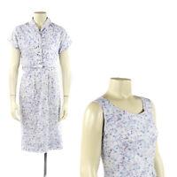 Vintage 50s Crisp Cotton Blue + Purple Feather Print  Pastel Hourglass Dress Set