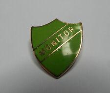 Vintage School Monitor badge Green Enamel