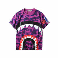 Japan Men's Bape Shark Mouth Camo T-shirt Green Purple Short Sleeves Tee Tops