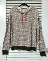 black/ red plaid hoodie long slev top 2XL