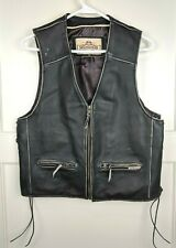 Milwaukee Motorcycle Clothing Company Distressed Black Leather Vest Size: M