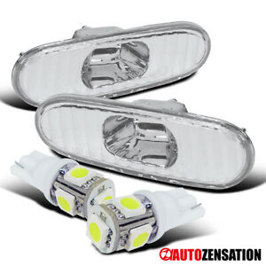 For 00-05 Toyota Celica Clear Bumper Signal Side Marker Lights+T10 SMD LED Bulbs