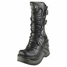 New Rock Wedge Buckle Lace And Zip Womens Black Leather Wedge Boots