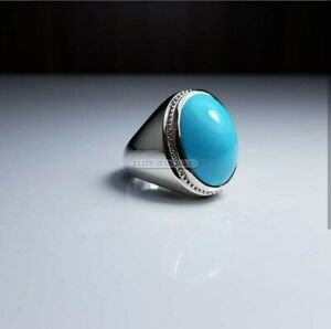 Simulated Turquoise Gemstone with 925 Sterling Silver Ring for Men's EG1787