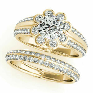 1.70Ct Round Cut Diamond Engagement Ring Band Set 14K Solid Yellow Gold Size 6 5