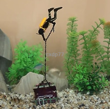 Frogman Diver Treasure Chest Shaped Action Air Ornament Fish Tank Aquarium Decor