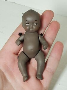 """Vintage Black Americana Bisque Jointed Porcelain Baby Doll Japan 1920's? 4"""" Tall"""