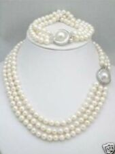HOT triple strands South Sea White Pearl Necklace Bracelet set Mabe Clasp