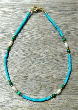 Seed Bead Anklet Ankle Bracelet Afghan Natural Turquoise, Pearls, Malachite Tiny