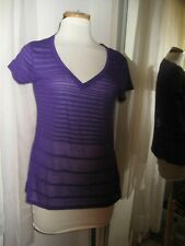 VICTORIA'S SECRET TEE SHOP PURPLE KNIT CAP SLV  V-NECK TOP, SZ S, NEW, 25% OFF