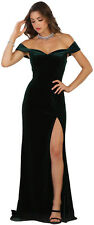 SPECIAL OCCASION PROM VELVET DRESS OFF THE SHOULDER EVENING FORMAL FITTED GOWNS
