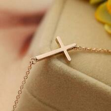 Hot Sale New Gold Horizontal Sideways Cross Choker Collar Pendant Necklace