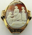 VICTORIAN HAND CARVED SHELL CAMEO PENDANT BROOCH PIN