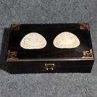 Chinese Ebony Wood Inlay Jade Handmade Exquisite Jewelry Box 22705
