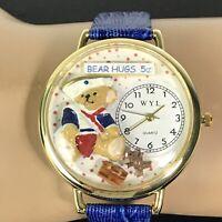 Teddy Bear Watch 3D Art Dial Quartz Blue Letter Strap Handcrafted USA