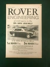 ROVER ENGINEERING SPA SOFIA LIEGE RALLY 1963 A4 POSTER ADVERT READY FRAME SIZE F