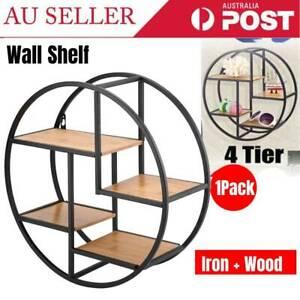Round Wall Floating Shelf Set DIY Mount Storage Book Display Rack Wooden 4 Tiers