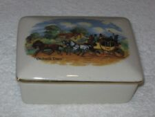 Antique/Vintage China Vanity/Dresser Box & Lid  - White, Western - Dicken's Days