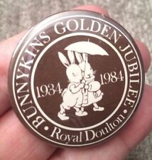 "Vintage Bunnykins Royal Doulton Golden Jubilee 1934-1984 Pin Button Badge 1 3/4"""
