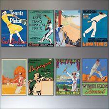 Tennis vintage sports posters fridge magnets set of 8
