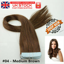 "16"" Tape-In Russian Remy Human Hair Extensions 25g 10pcs  #04 Medium Brown UK"