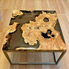 Epoxy Resin Black River Square Coffee Table Top Natural Wood Look {TOP ONLY}