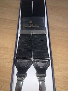 Brooks Brothers Black Braces BRAND NEW RRP £118 Black Leather/ Clip Attachment