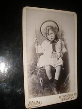 Cdv old photograph girl on a swing by Mora at Brighton c1890s