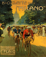 POSTER BICYCLE MILANO BIKE RACE ITALY CYCLING SPORT VINTAGE REPRO FREE S/H