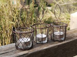 3 Wall Hung Wire Cage Hanging Tea Light Holders Rusty Glass Rustic Candle Votive
