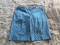 Brooks Brothers Blue White Geometric Print 100% Cotton Bermuda Short Women's 4